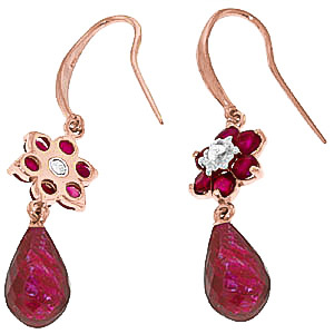 Ruby and Diamond Daisy Chain Drop Earrings 7.55ctw in 9ct Rose Gold