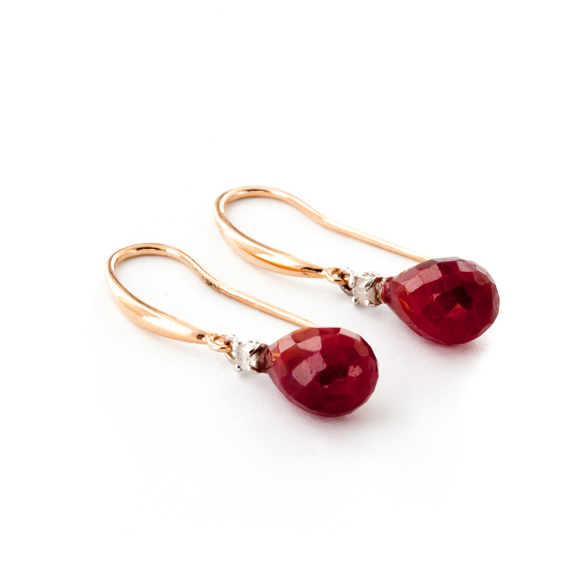 Ruby and Diamond Drop Earrings 6.6ctw in 9ct Rose Gold