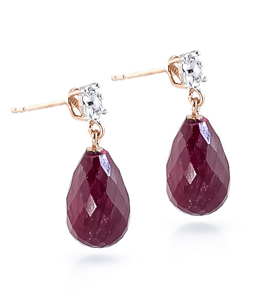 Ruby and Diamond Illusion Stud Earrings 17.6ctw in 14K Rose Gold
