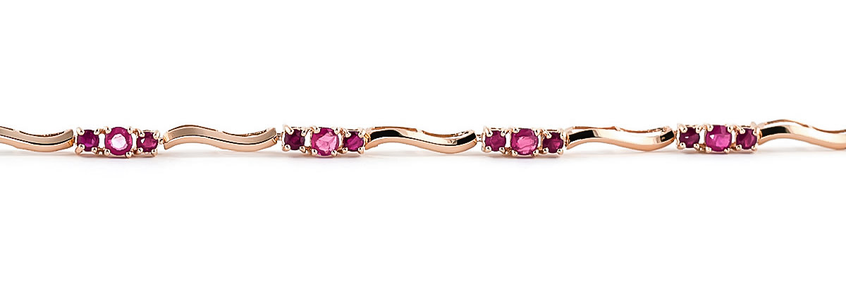 Ruby and Diamond Trinity Tennis Bracelet 1.75ctw in 9ct Rose Gold