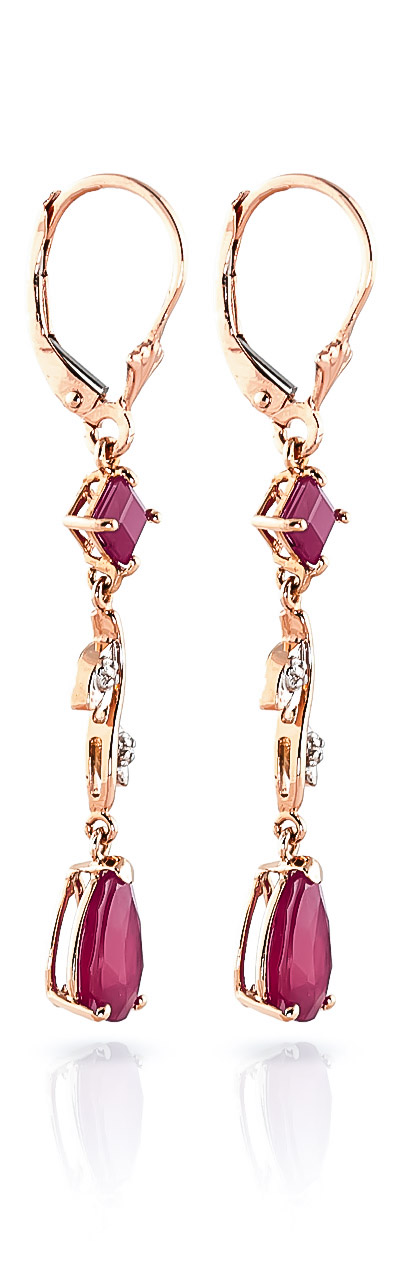 Ruby and Diamond Vine Branch Drop Earrings 3.95ctw in 9ct Rose Gold