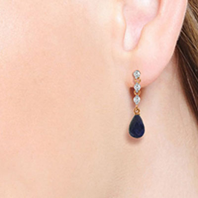 Sapphire and Diamond Chain Droplet Earrings 6.6ctw in 14K Rose Gold