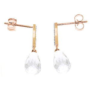 White Topaz and Diamond Droplet Earrings 4.5ctw in 14K Rose Gold