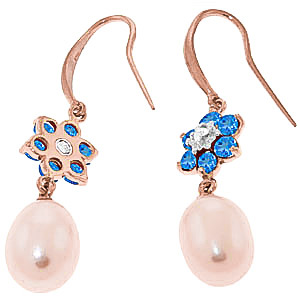 Pearl, Diamond and Blue Topaz Daisy Chain Drop Earrings 8.95ctw in 9ct Rose Gold