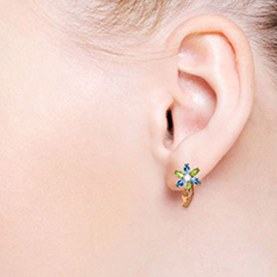 Blue Topaz, Diamond and Peridot Flower Petal Stud Earrings 1.0ctw in 14K Rose Gold