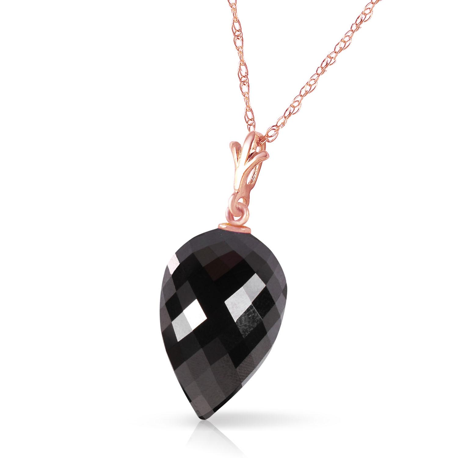 Black Spinel Briolette Pendant Necklace 12.25ct in 14K Rose Gold