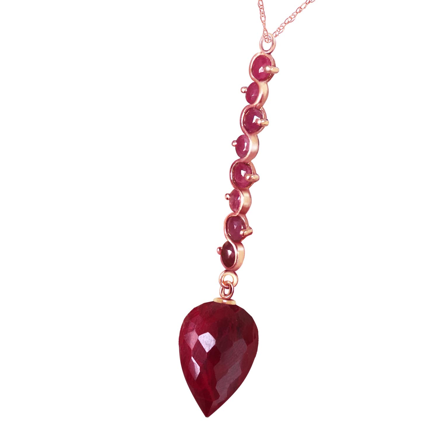 Ruby Briolette Pendant Necklace 14.55ctw in 9ct Rose Gold