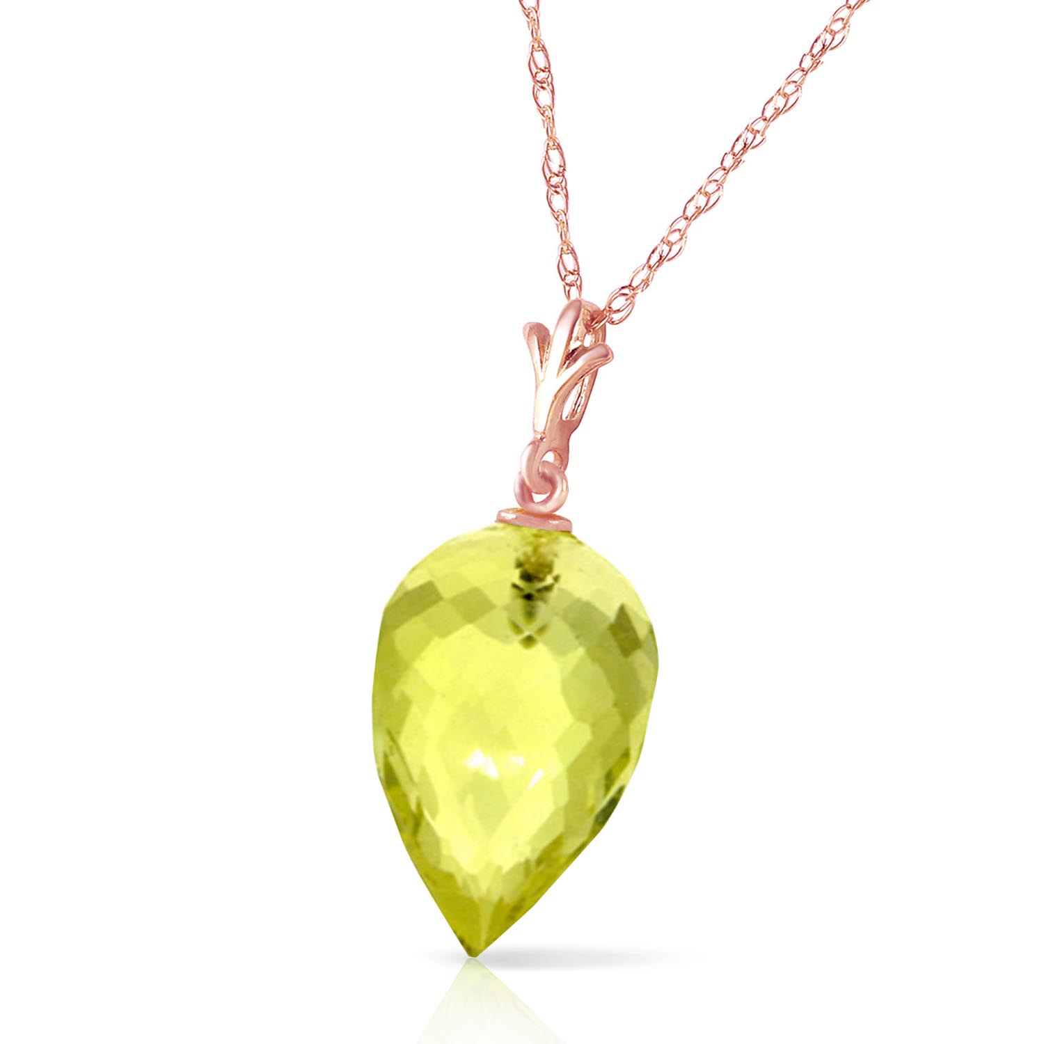 Lemon Quartz Briolette Pendant Necklace 9.0ct in 14K Rose Gold
