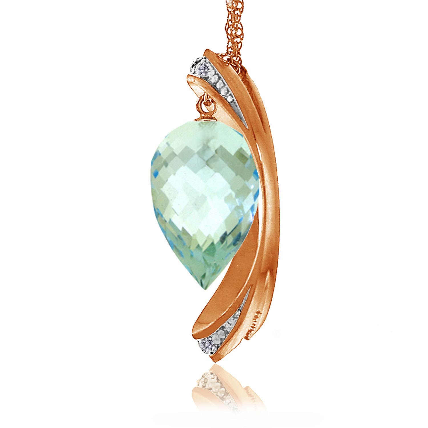 Blue Topaz and Diamond Pendant Necklace 11.5ct in 14K Rose Gold