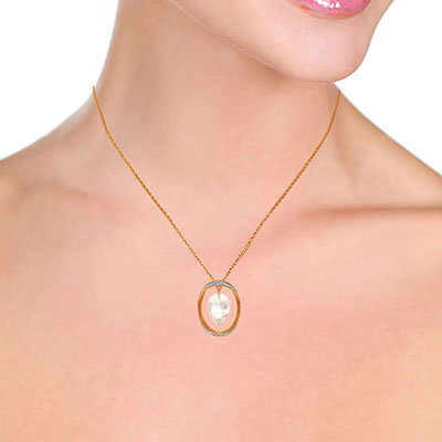 White Topaz and Diamond Pendant Necklace 12.25ct in 14K Rose Gold