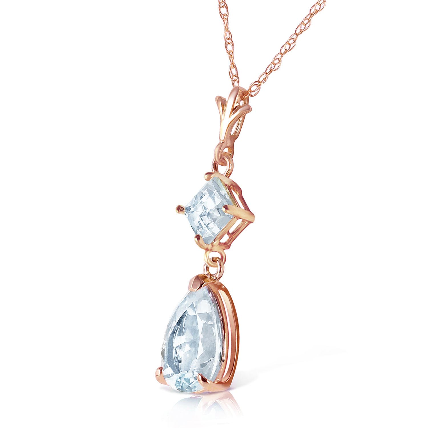 Aquamarine Droplet Pendant Necklace 2.0ctw in 14K Rose Gold