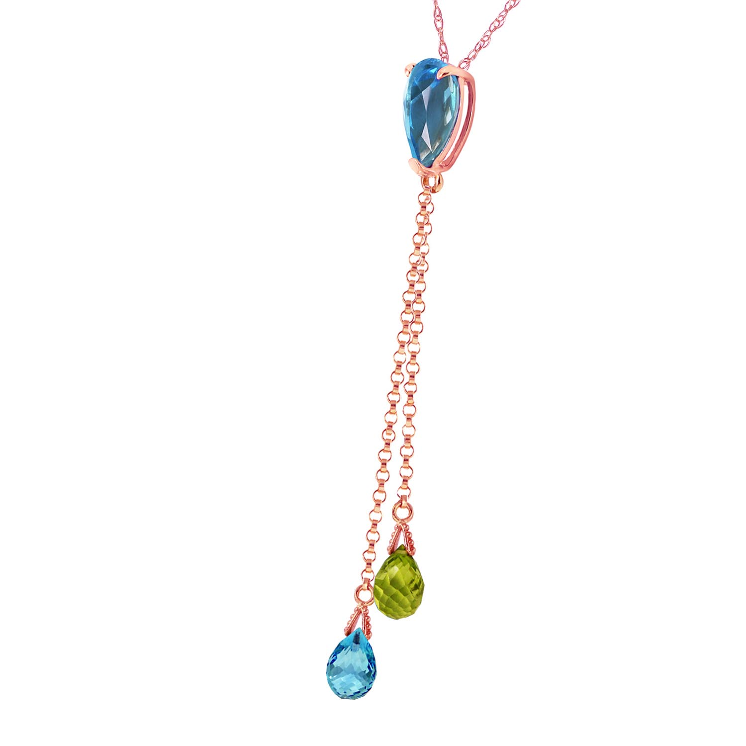 Blue Topaz and Peridot Droplet Pendant Necklace 3.75ctw in 14K Rose Gold