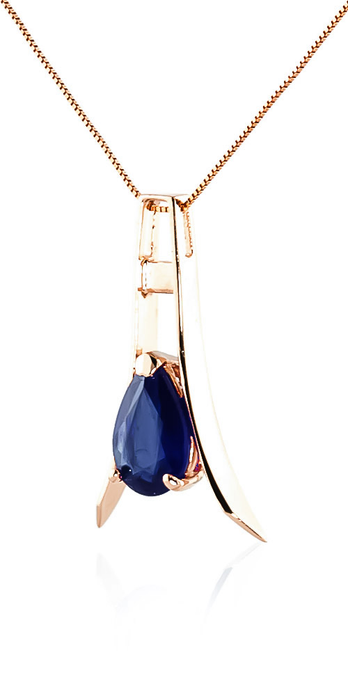 Sapphire Eiffel Pendant Necklace 1.5ct in 14K Rose Gold