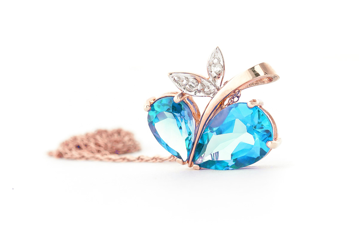 Blue Topaz and Diamond Eternal Pendant Necklace 5.2ctw in 14K Rose Gold