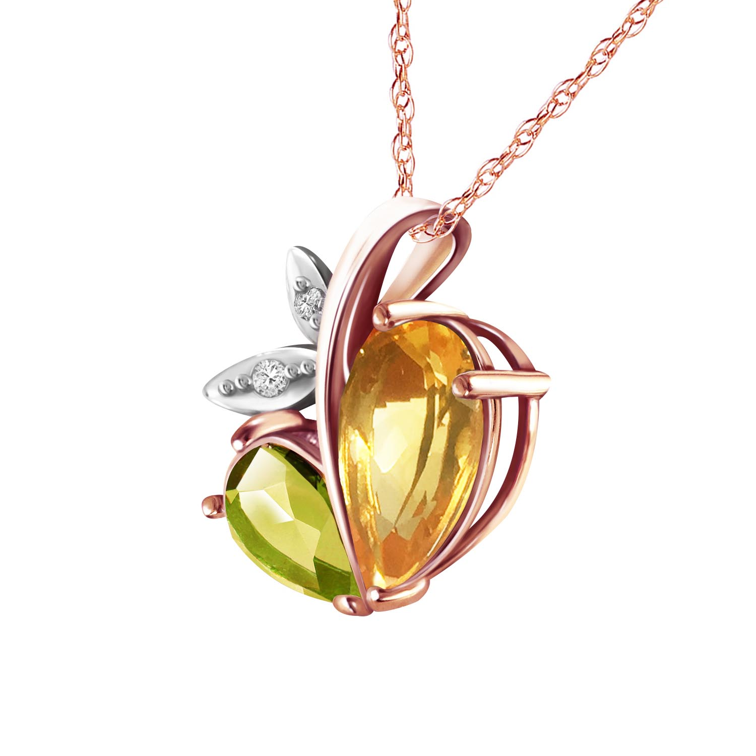 Citrine and Diamond Eternal Pendant Necklace 4.0ctw in 9ct Rose Gold