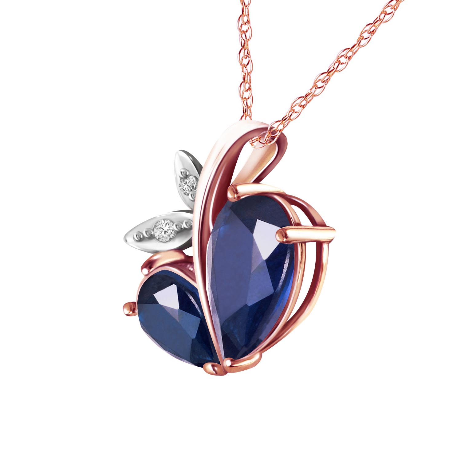 Sapphire and Diamond Eternal Pendant Necklace 5.3ctw in 9ct Rose Gold