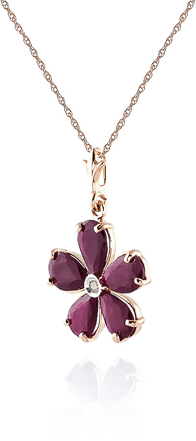 Ruby and Diamond Flower Petal Pendant Necklace 2.2ctw in 14K Rose Gold