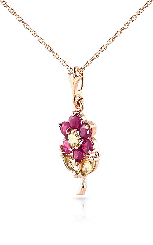Ruby and Peridot Flower Petal Pendant Necklace 1.06ctw in 14K Rose Gold