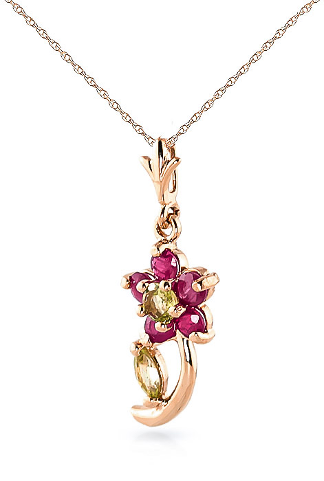 Ruby and Peridot Flower Petal Pendant Necklace 0.87ctw in 9ct Rose Gold