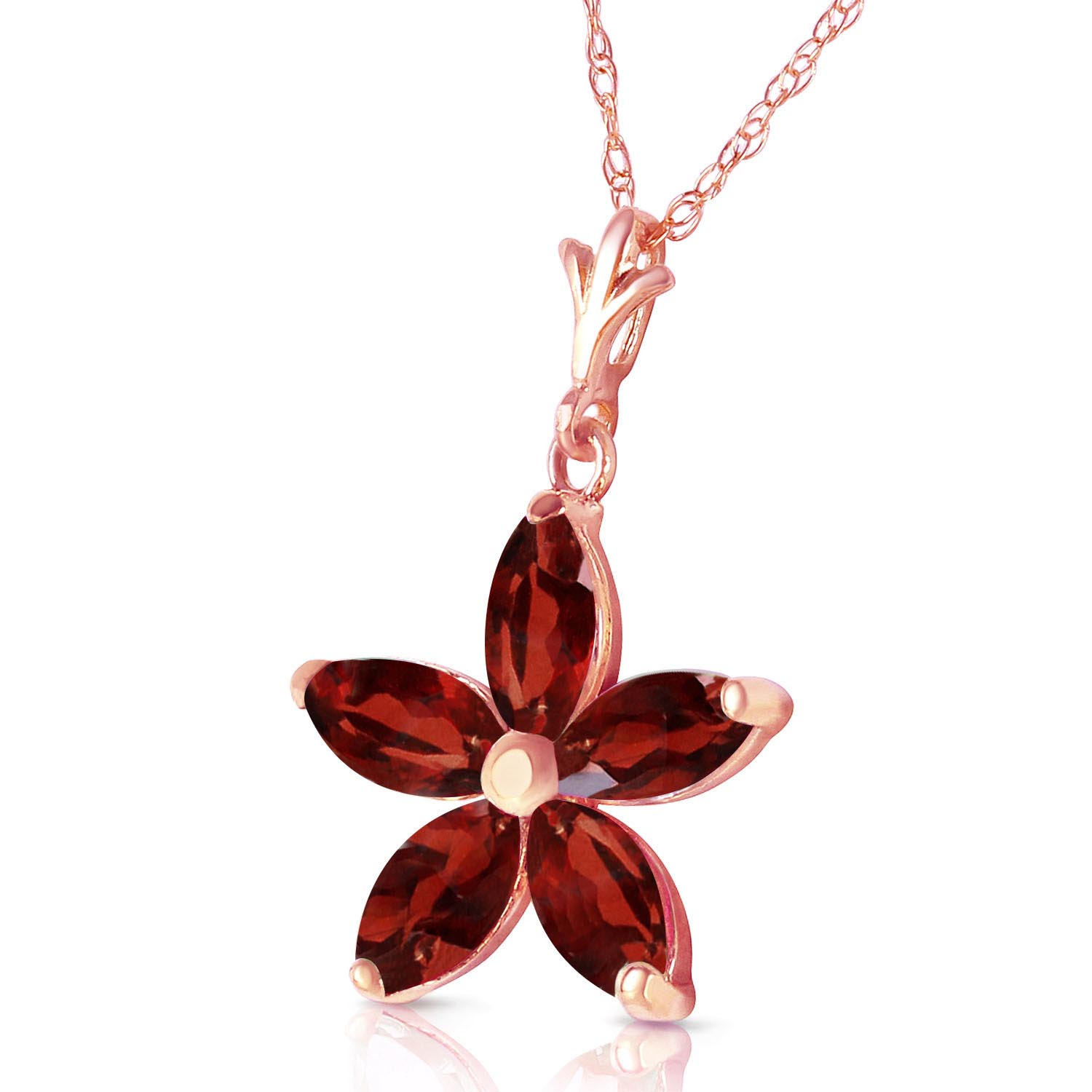 Garnet Flower Star Pendant Necklace 1.4ctw in 9ct Rose Gold