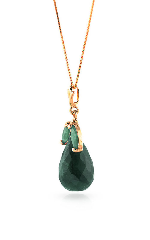 Emerald Snowdrop Briolette Pendant Necklace 9.3ctw in 14K Rose Gold