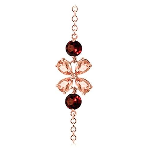 Citrine and Garnet Adjustable Bracelet 3.15ctw in 9ct Rose Gold