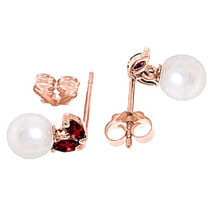 Pearl and Garnet Snowdrop Stud Earrings 4.4ctw in 14K Rose Gold