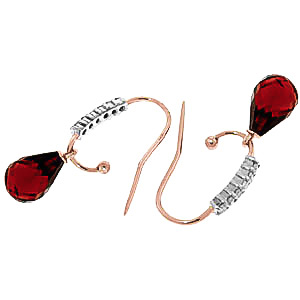 Diamond and Garnet Stem Droplet Earrings in 9ct Rose Gold