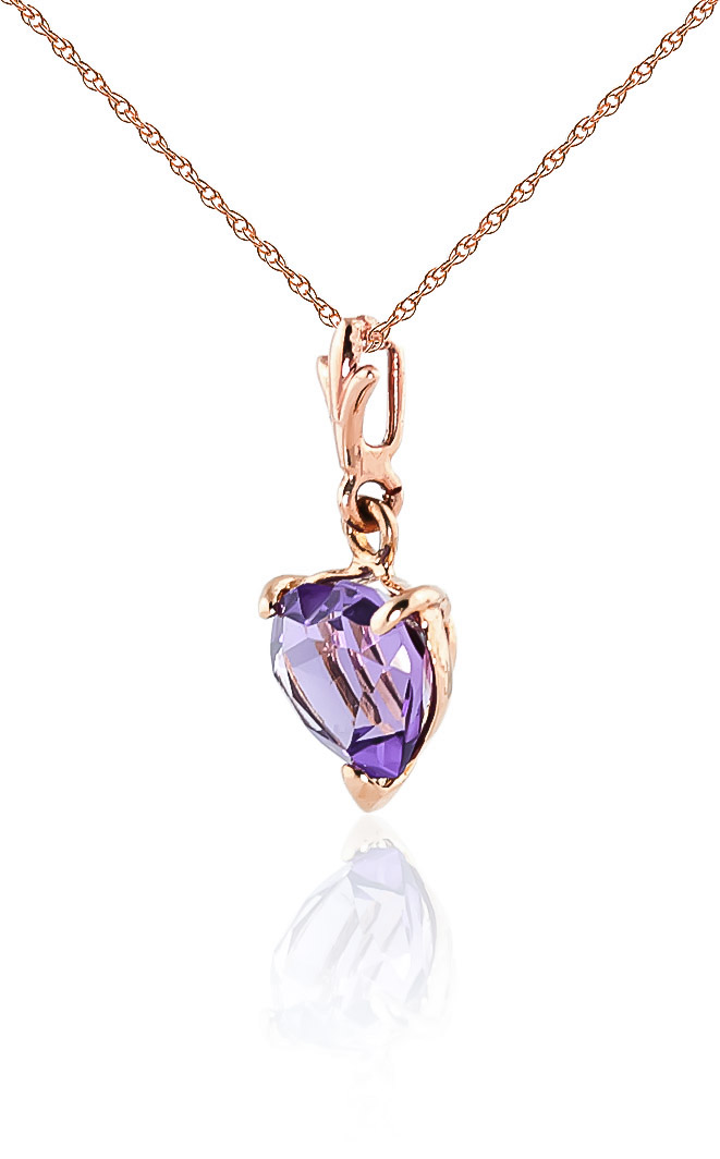 Amethyst Heart Pendant Necklace 1.15ct in 9ct Rose Gold