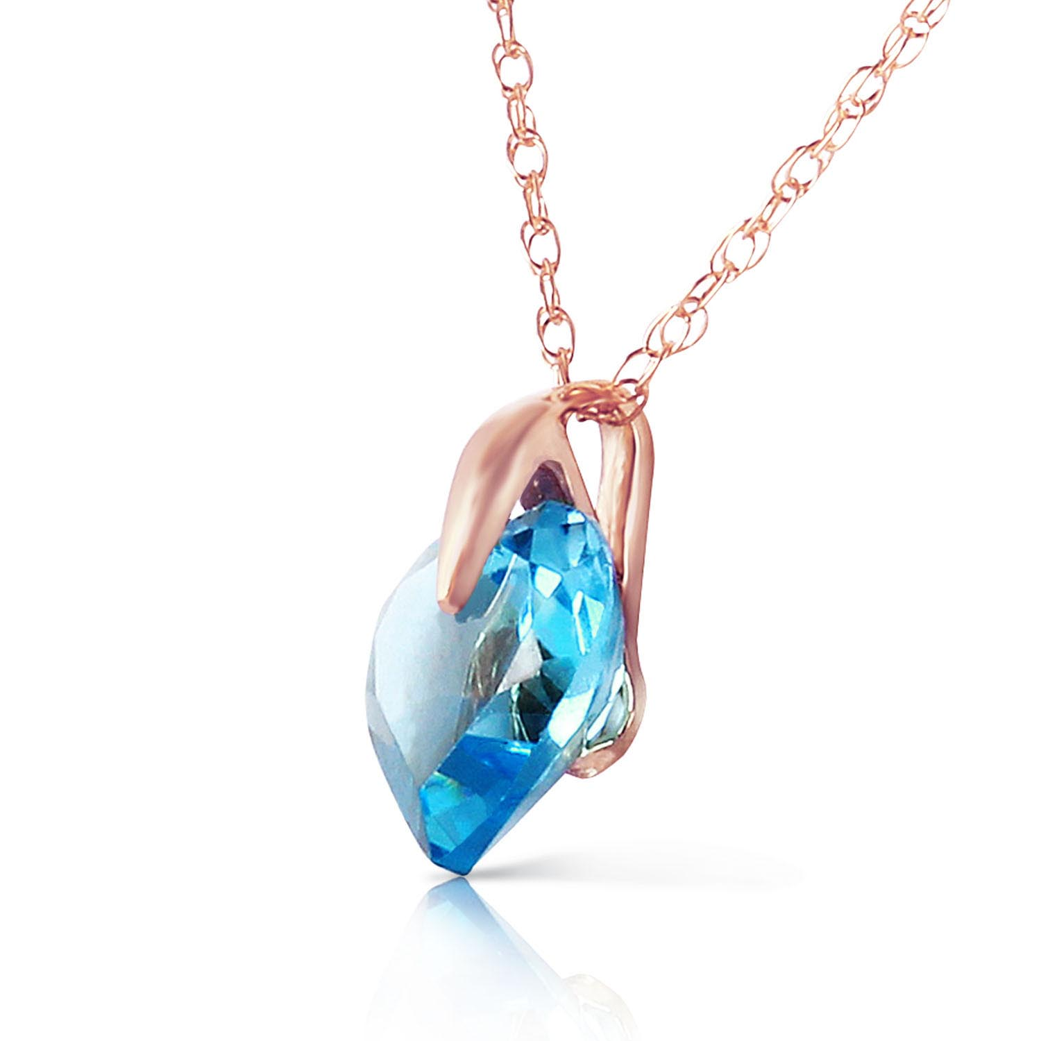 Blue Topaz Heart Pendant Necklace 1.15ct in 14K Rose Gold