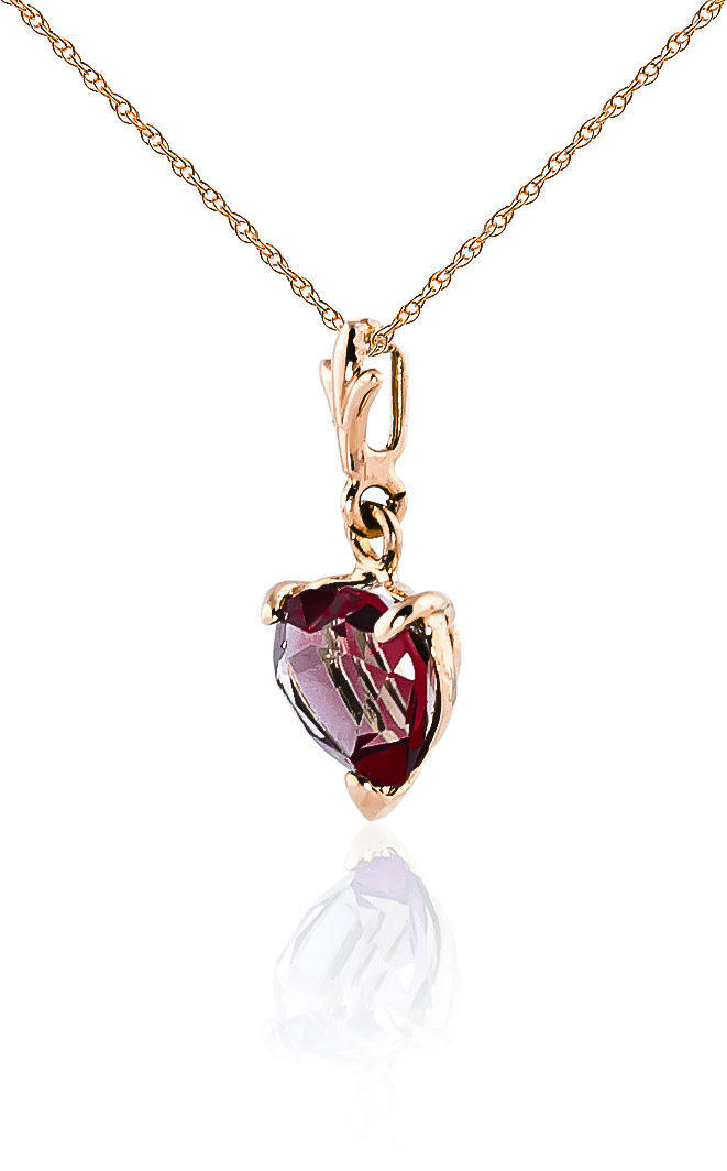 Garnet Heart Pendant Necklace 1.5ct in 9ct Rose Gold