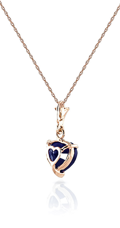Sapphire Heart Pendant Necklace 1.55ct in 14K Rose Gold