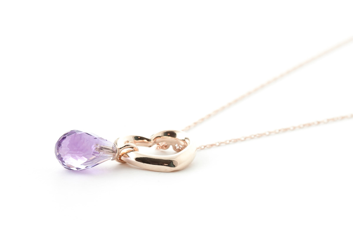 Pear Cut Amethyst Pendant Necklace 2.25ct in 14K Rose Gold