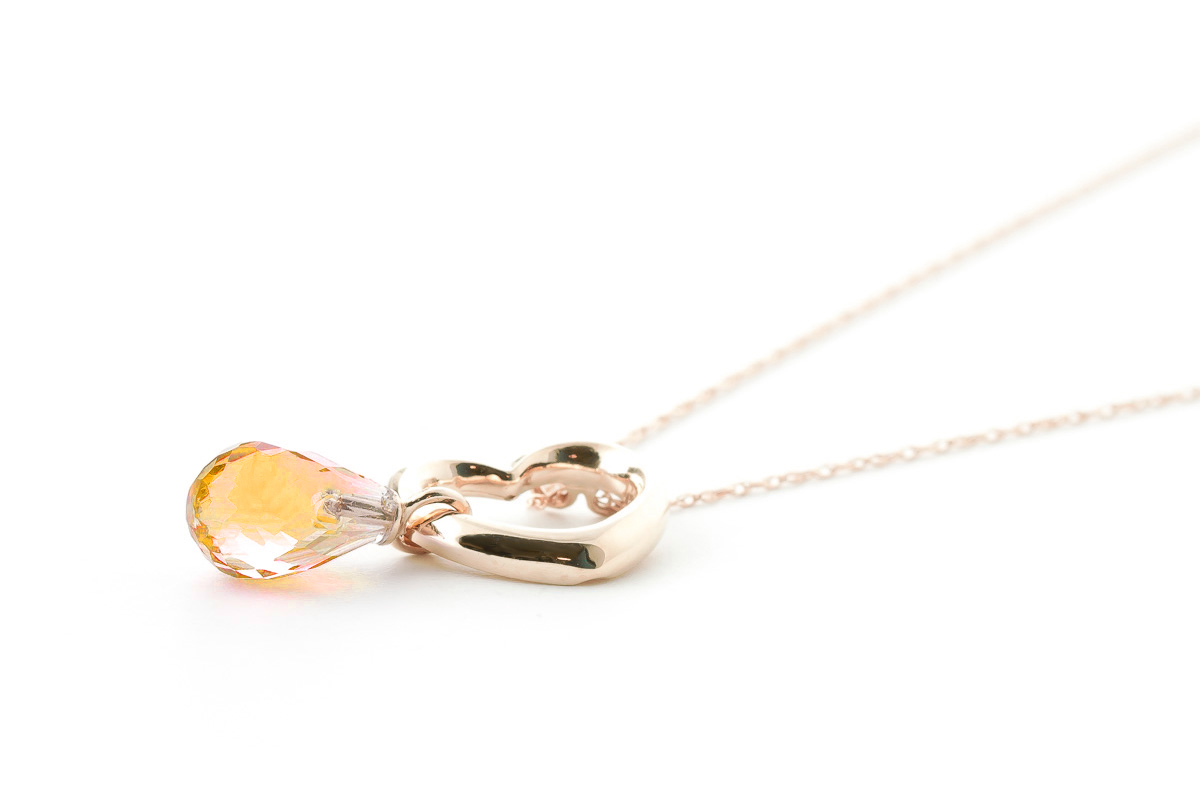 Pear Cut Citrine Pendant Necklace 2.25ct in 9ct Rose Gold