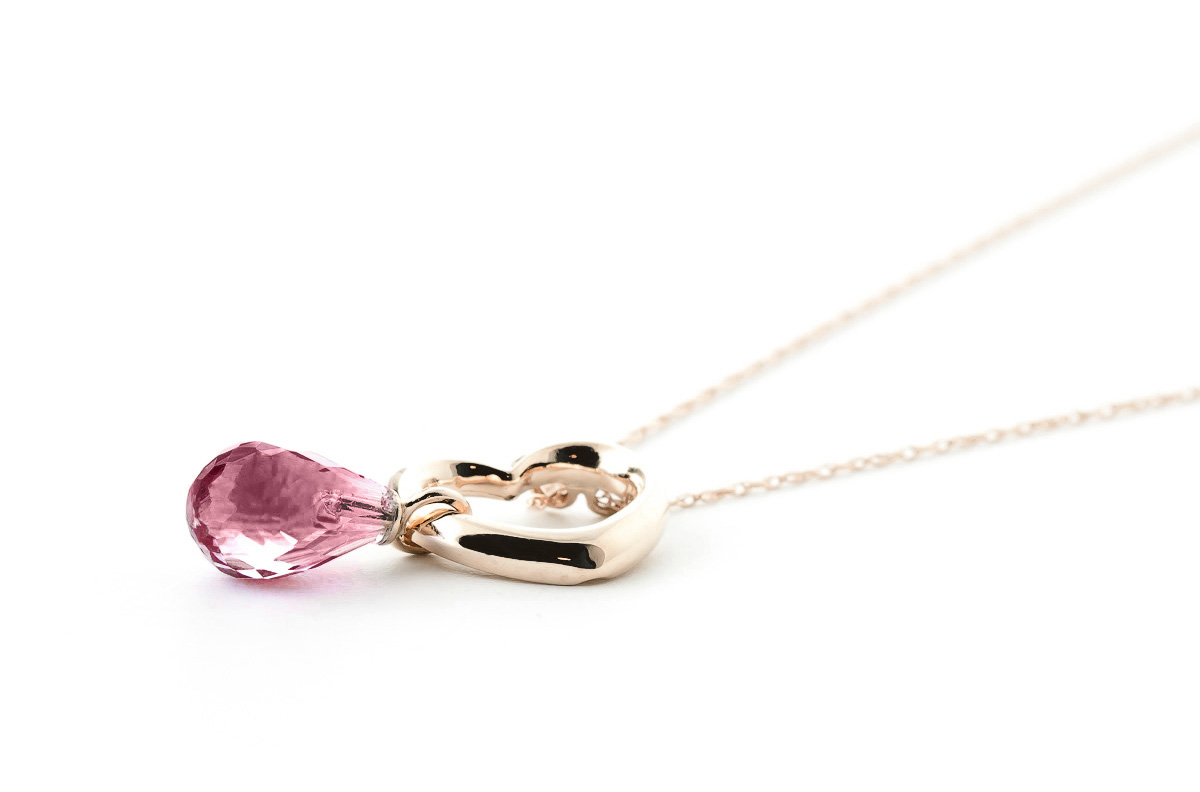 Pear Cut Garnet Pendant Necklace 2.25ct in 14K Rose Gold