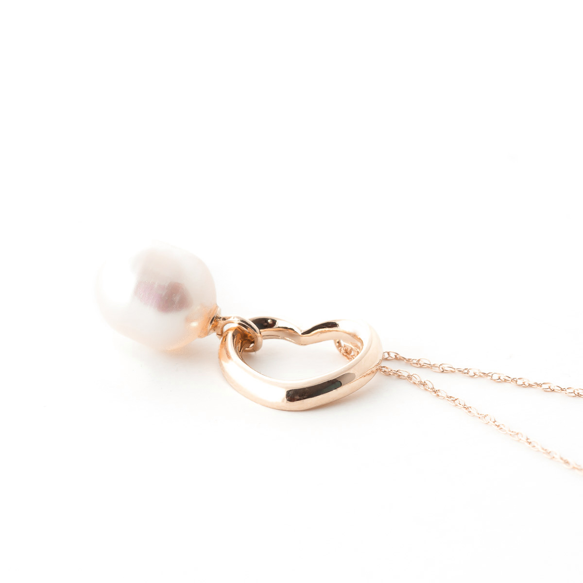 Pear Cut Pearl Pendant Necklace 4.0ct in 14K Rose Gold