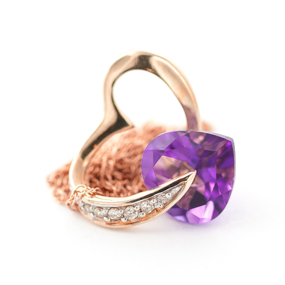 Amethyst and Diamond Pendant Necklace 3.1ct in 14K Rose Gold