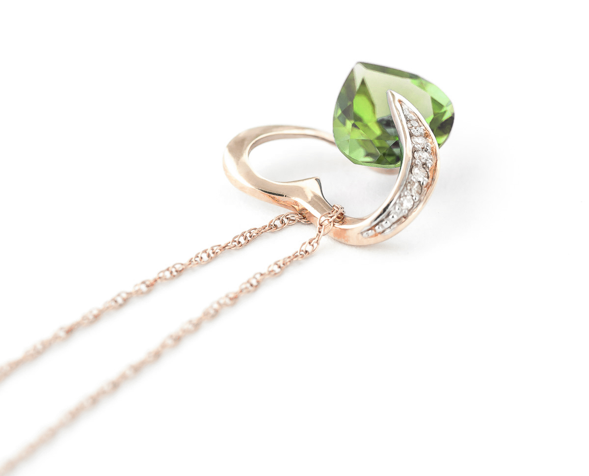 Green Amethyst and Diamond Pendant Necklace 3.25ct in 9ct Rose Gold
