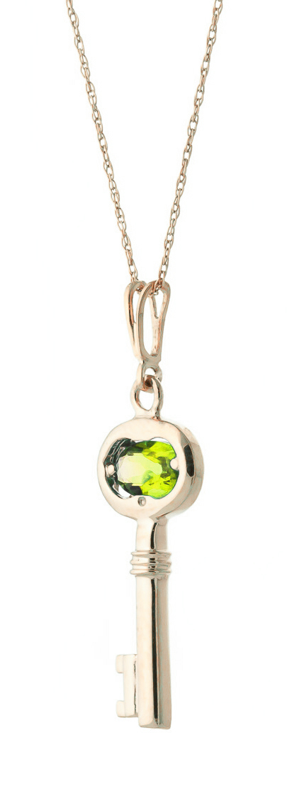 Peridot Key Charm Pendant Necklace 0.5ct in 9ct Rose Gold