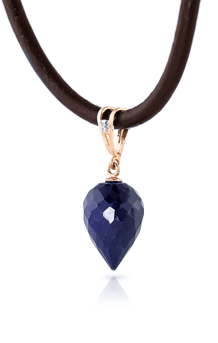 Sapphire and Diamond Leather Pendant Necklace 13.0ct in 14K Rose Gold