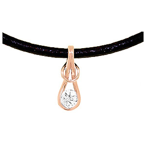 Round Brilliant Cut Diamond Leather Pendant Necklace in 14K Rose Gold