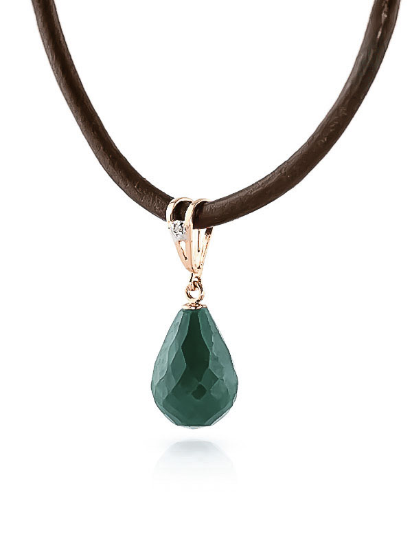 Emerald and Diamond Leather Pendant Necklace 15.5ct in 9ct Rose Gold