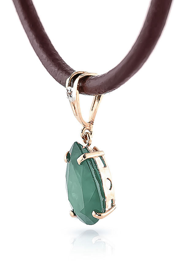 Emerald and Diamond Leather Pendant Necklace 3.5ct in 9ct Rose Gold
