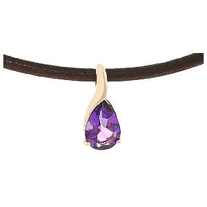 Pear Cut Amethyst Leather Pendant Necklace 4.7ct in 14K Rose Gold