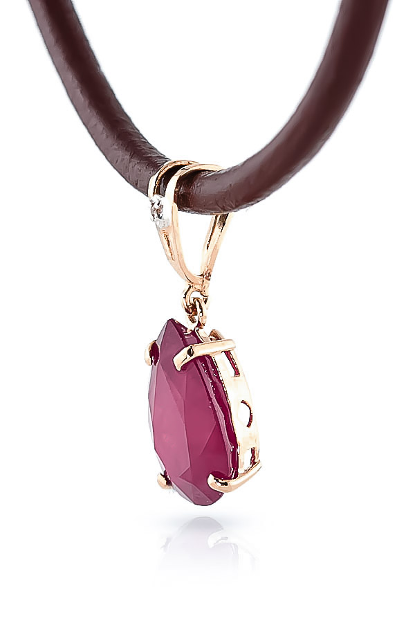 Ruby and Diamond Leather Pendant Necklace 5.0ct in 9ct Rose Gold