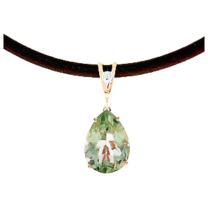 Green Amethyst and Diamond Leather Pendant Necklace 6.0ct in 14K Rose Gold