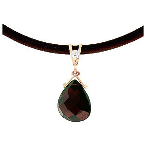 Garnet and Diamond Leather Pendant Necklace 6.5ct in 14K Rose Gold