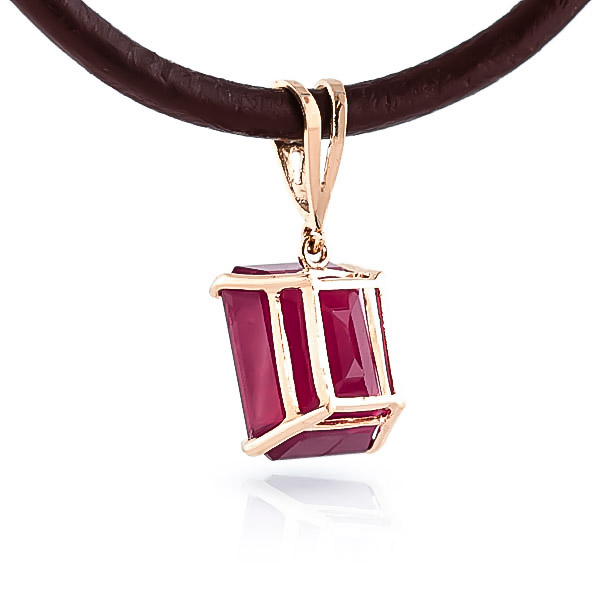 Ruby and Diamond Leather Pendant Necklace 6.5ct in 14K Rose Gold