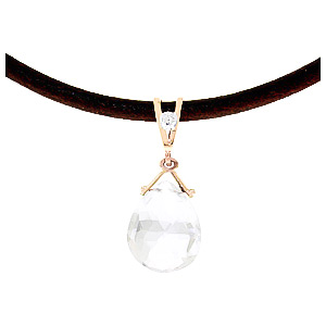 White Topaz and Diamond Leather Pendant Necklace 6.5ct in 14K Rose Gold