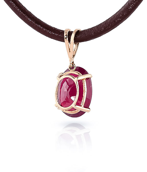 Ruby and Diamond Leather Pendant Necklace 7.7ct in 9ct Rose Gold